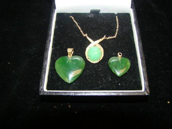 6: Lot of 3-Jade and 14k Gold Necklace