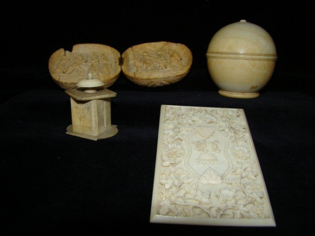 17: 4 Piece Continental Ivory Lot 18th/19c