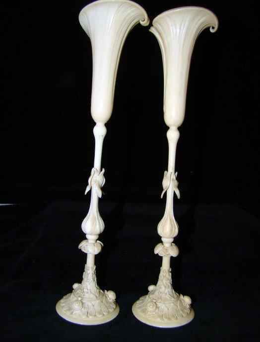 18: Pair of Ivory Tulip Form Bud