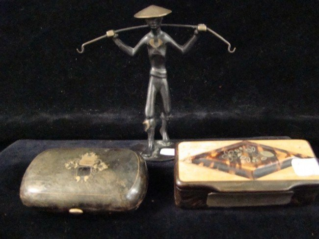 21: 3 Piece Lot ,Snuff Box, Rene Rosenthal  Chinese Man