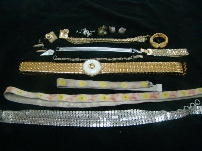 3: Lot of Mesh Belts, Bracelets and Earrings