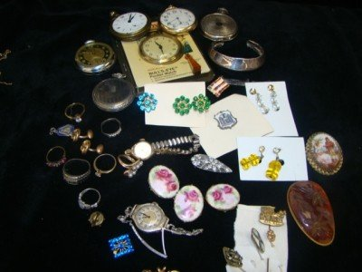7: Assorted Lot of Gold-filled Pocket Watches, Brooches