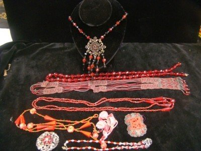 12: 1920's Red  Beads and Necklaces Etc.