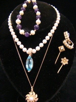 24: Estate Jewelry, 14K Gold and Pearls, 2 Stick Pins,