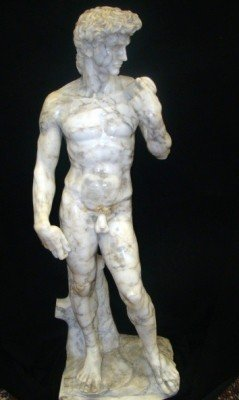"""80: Life Size Italian  Marble Statue of  """"David"""" Signed"""