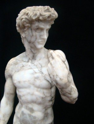 """80: Life Size Italian  Marble Statue of  """"David"""" Signed - 2"""