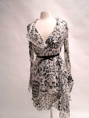 "4: ""Orrier's"" French Black and White Dress"