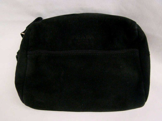 12: Lady's Prada Black Suede Evening Bag