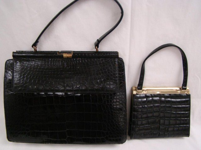 14: Lot  of 2 Vintage Ladies' Crocodile Bags
