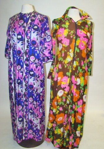 22: Lot of 2 1960's Floral Maxi Dresses