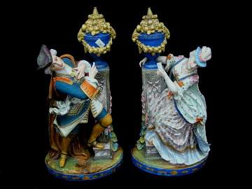 180: Pair- Large Classical Porcelain Figures/ Candle