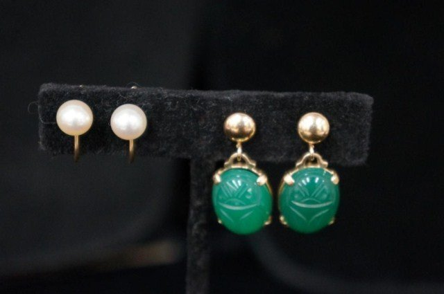 13: Lot of 2 Pairs-14K Scarab and Pearl Earrings
