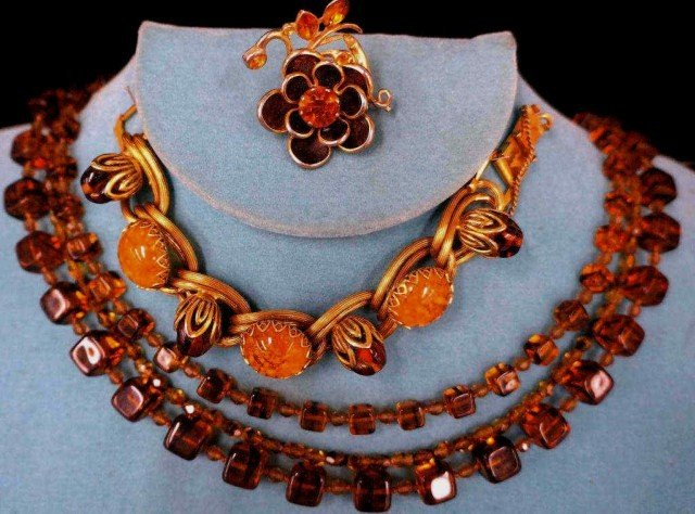 23: Vintage Amber Color Necklaces and Brooch