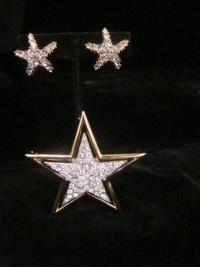 Kenneth Lane Star Pin And Earrings