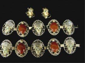 Enamel Asian Bracelet And Pins