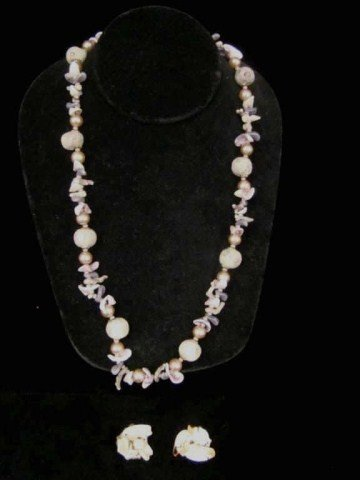 58: Miriam Haskell Floral Shell Necklace with Earrings