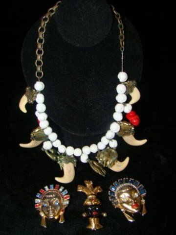 61: Ethnic Necklace and Pin Lot
