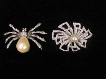 69: Lot of 2 Kenneth Lane Pearl & Rhinestone Bug Pin