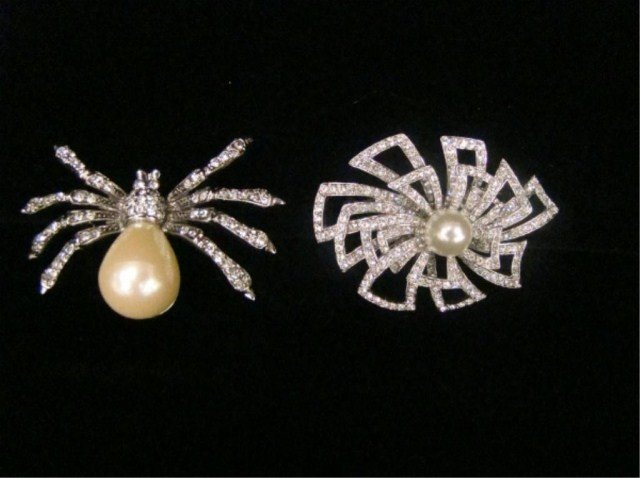 69: Lot of 2 Kenneth Lane Pearl & Rhinestone Bug Pin