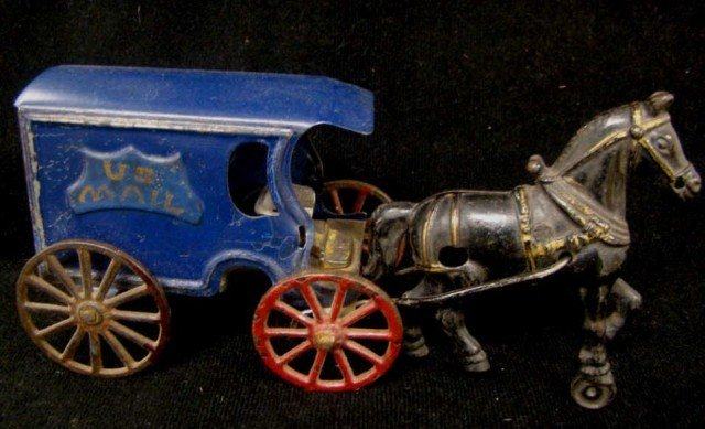 12: Cast Iron Horse and Metal U.S. Mail Truck