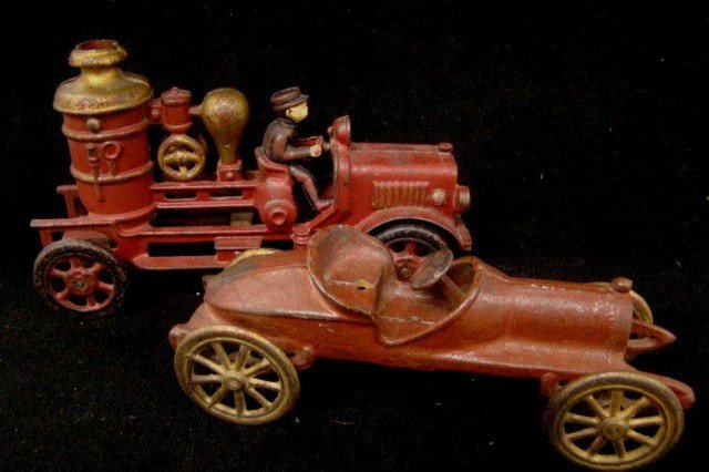 13: Cast Iron Fire Truck and Race Car