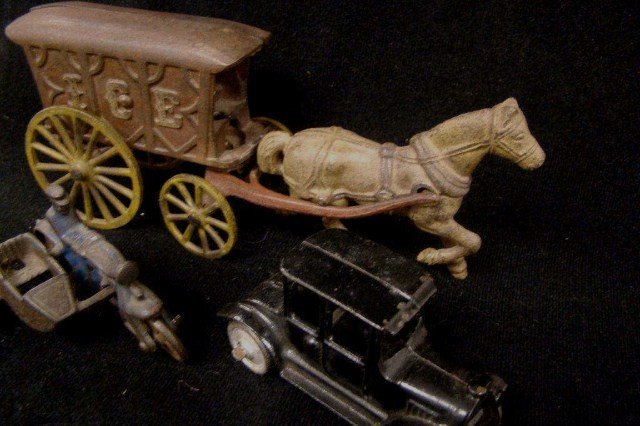 14: Cast Iron Ice Truck, Car and Motorcycle