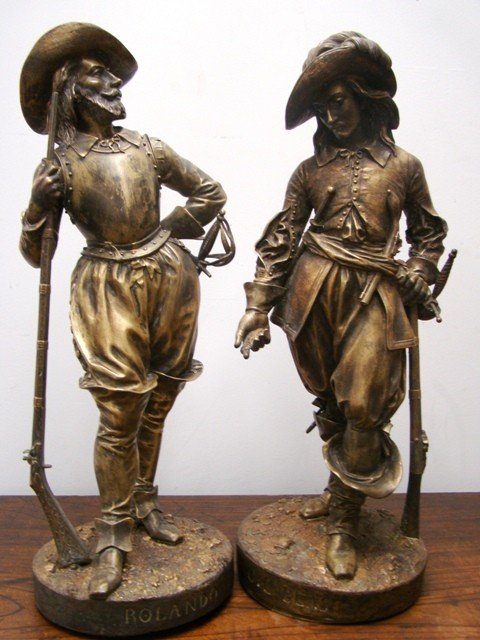 82: Pair of Bronze E. Quesnel Sculptures