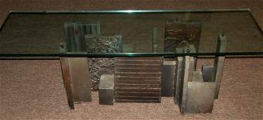 93: Paul Evans Style Modernist Metal Table and Glass T