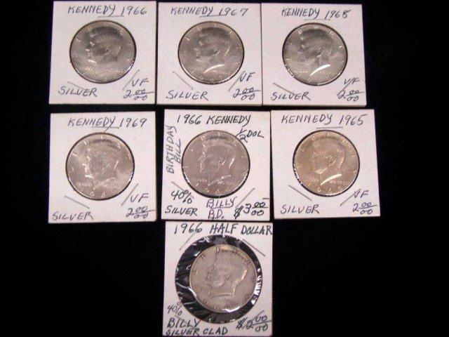 12: Seven  Kennedy Half Dollars 40% Silver