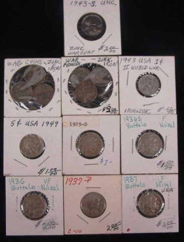 15: Eight 1943 Cents and Six  Buffalo Nickels