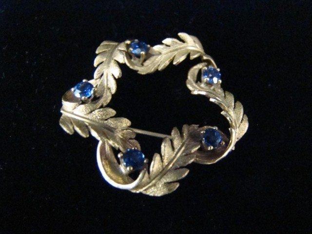 9A: 14K Sapphire Circle Pin