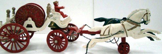 10: Cast Iron Fire Wagon  with Hose, Drivers