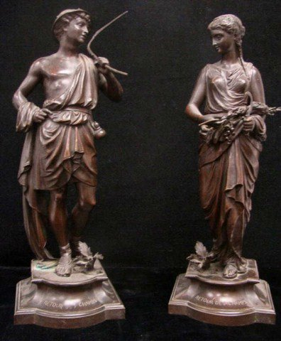65: Pair of Bronze Classical Figures