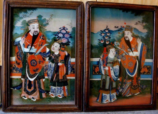 4: Antique Reverse Paintings on Glass