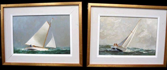 18: Pair of Signed, Oil on Board Seascapes