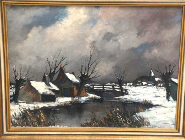 23: Maroner,  Oil on Canvas Winter Scene