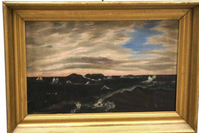 24: Oil on Canvas,Unsigned Seascape