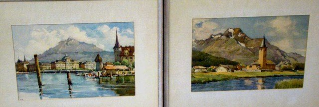 33: Pair of Watercolors, Swiss Landscapes- Signed