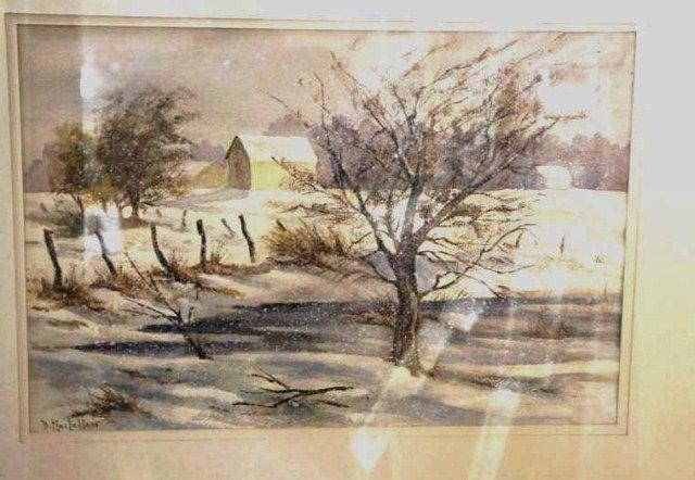 37: B. MacLellan, Watercolor, Winter View
