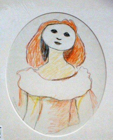 "44: Jon Kodwyck, "" Figure"" Pencil, Ink and Crayon"