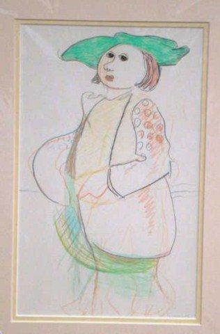 "45: Jon Kodwyck, "" Female Figure"" Pencil, Ink and Cray"