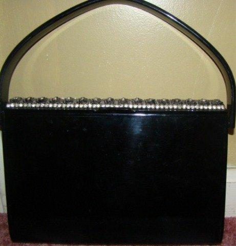 5: Fancy Black Vintage Lucite/ Plastic Handbag