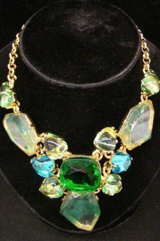 10: Kenneth Lane Emerald Color Necklace