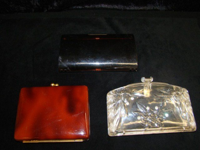 12: Lot of 3 Vintage Lucite/ Plastic Clutch Bags