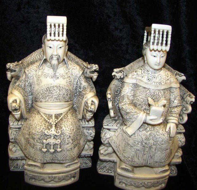 4: Pair of Ivory Chinese Figures