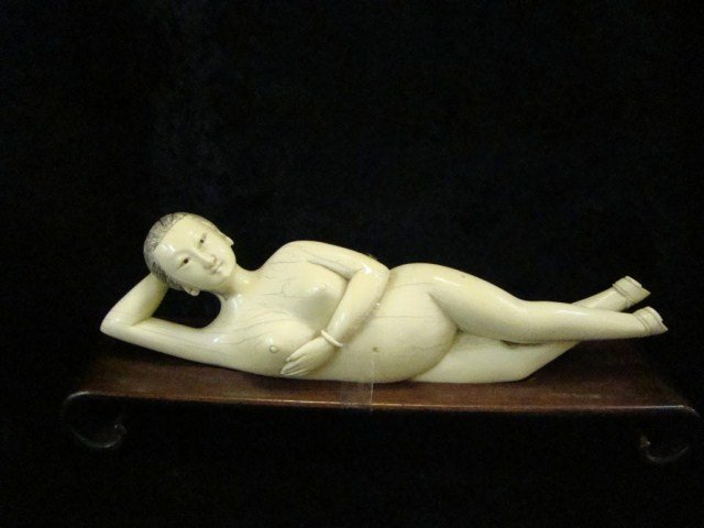 10: Carved Ivory  Reclining Nude Figure