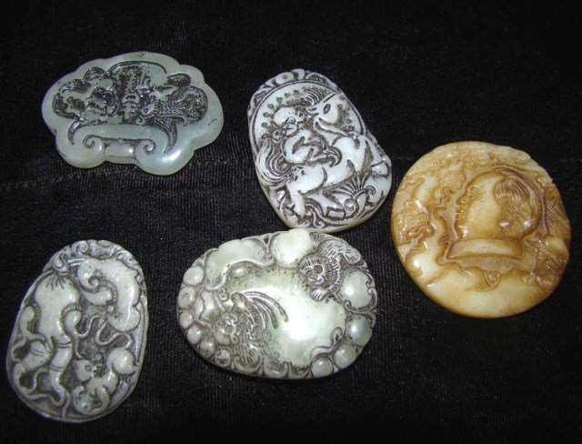16: Lot of 5 Carved Jade Amulets