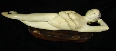 131: Ivory Reclining Nude Figurine