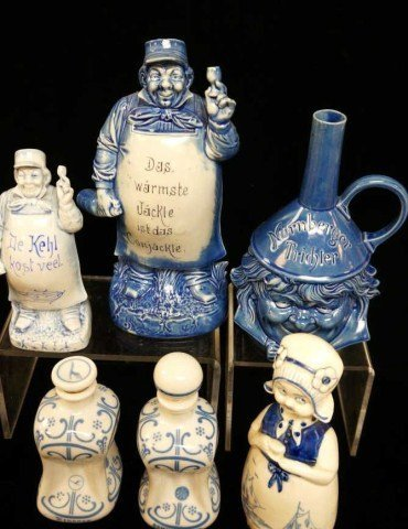 5: Lot of 6 Dutch Character Decanters/Schafer Vater