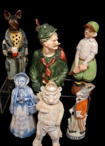 7: Lot of 6 Figural Character Decanters/Schafer Vater